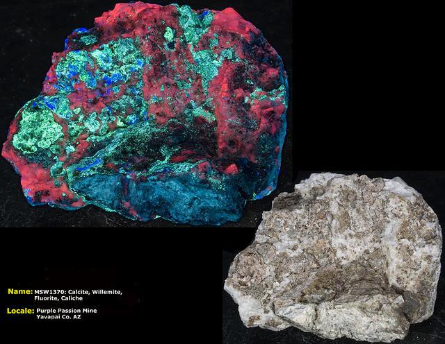 Calcite, Willemite, Fluorite, Caliche - Purple Passion Mine, AZ