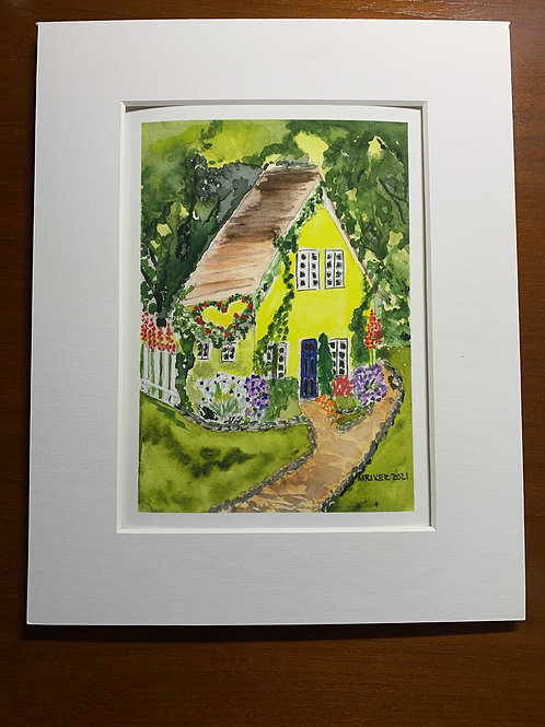 English Cottages & Bike Path Matted Giclees