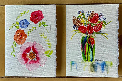 Assorted Flowers Hydrangeas & Sunflower  Series  Blank Note Cards