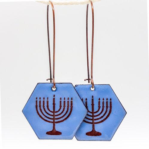 Hanukkah Blue Enamel Earrings