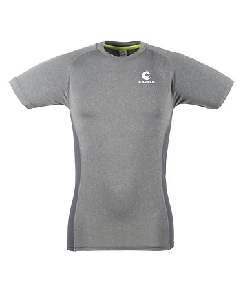 Men's Slim Fit Panelled T-Shirt Grey Marl/Grey