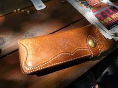 Aged natural veg tan long wallet