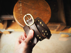 Charon studs on brown bridle Vale belt