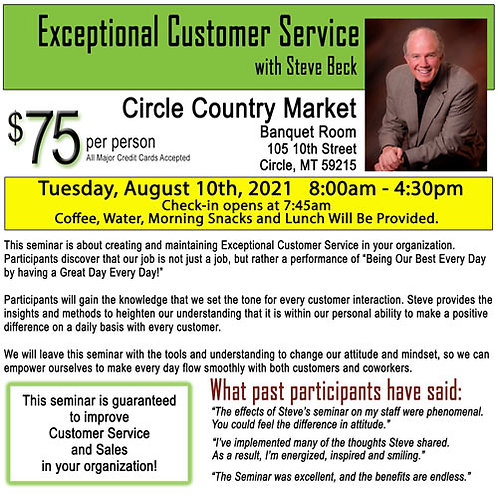 Exceptional Customer Service-Circle, MT
