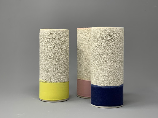 Coloured cylinder vase