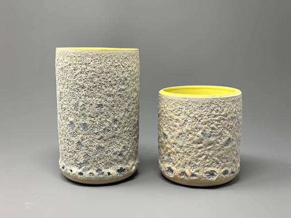 Yellow cylinder vases