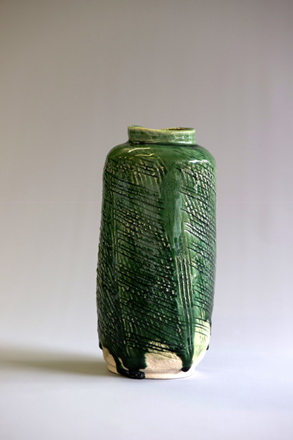 Deep green vase