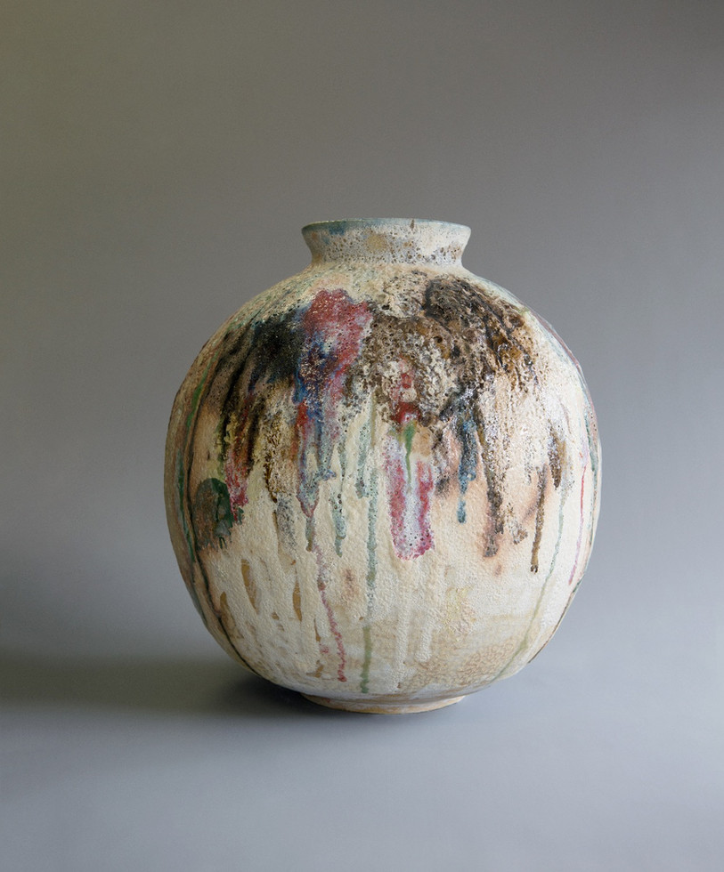 Abstract brown coloured Moonjar