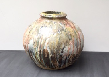 Abstract coloured Moonjar