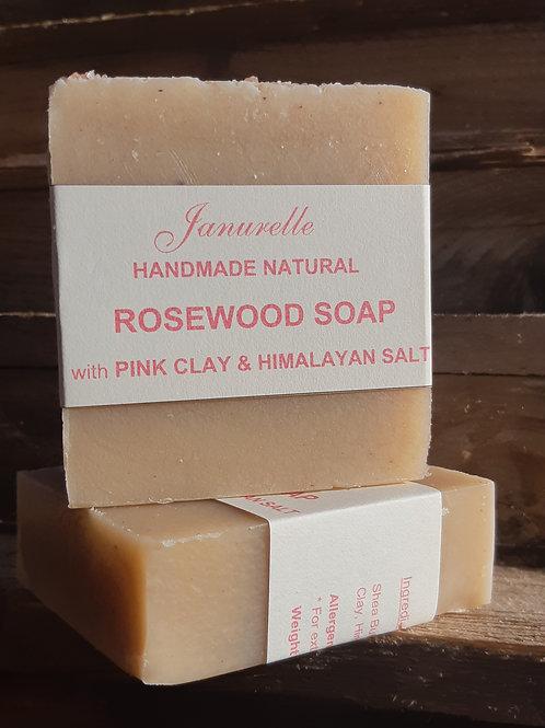 Rosewood soap with pink clay & Himalayan salt