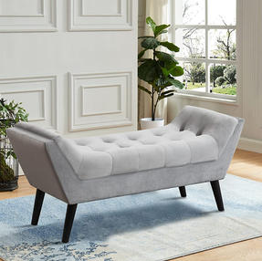 Gray tufted bench