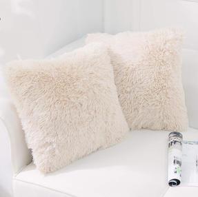 Fur throw pillow covers