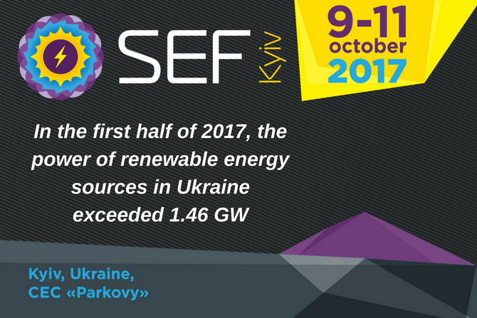 Installed capacity of renewable energy plants of Ukraine exceeded 1.46 GW  in first half of 2017
