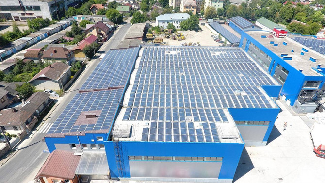 A new solar station was installed on the roof of the production of toys