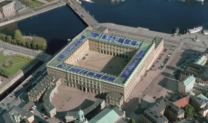 The solar panels appeared on the Stockholm Palace roof