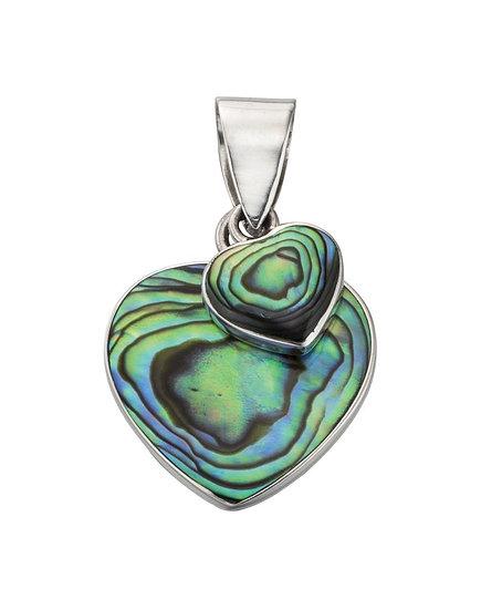 Paua Shell Double Heart Pendant