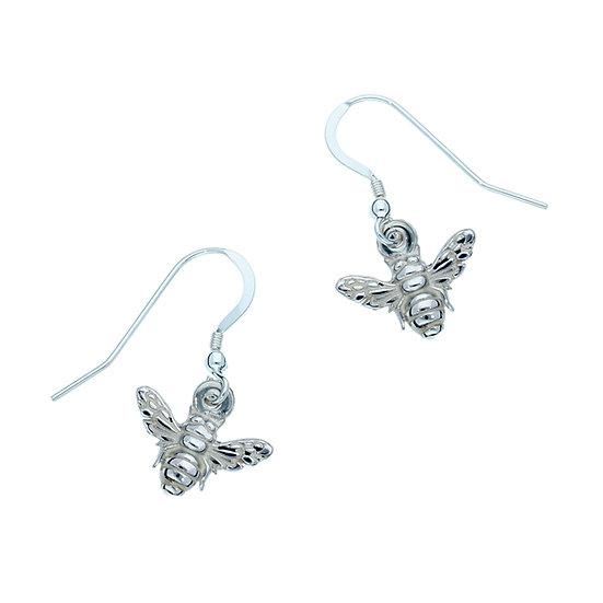 Silver Tiny Bee drop earrings