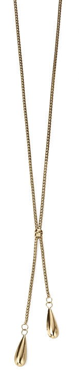 Yellow Gold Double Teardrop Lariat Necklace
