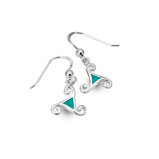 Celtic Triscele Earrings with Turquoise or Green Agate, Drops or Studs