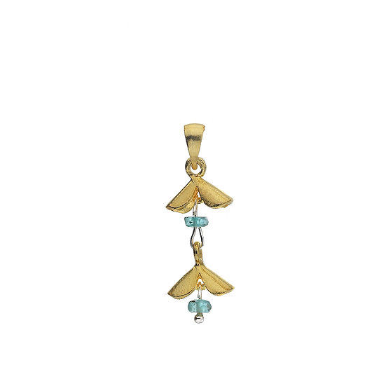 Gold plated double flower pendant with gemstone
