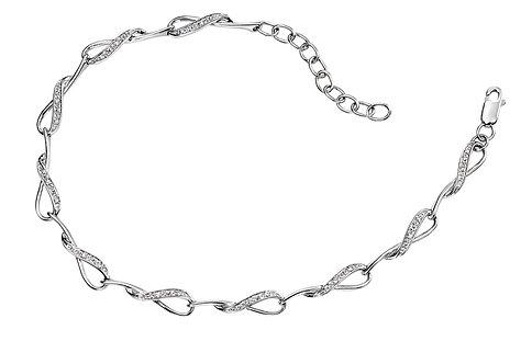 White Gold and Diamond Loop Link Bracelet