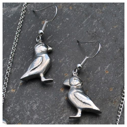 Puffin Earrings, pewter
