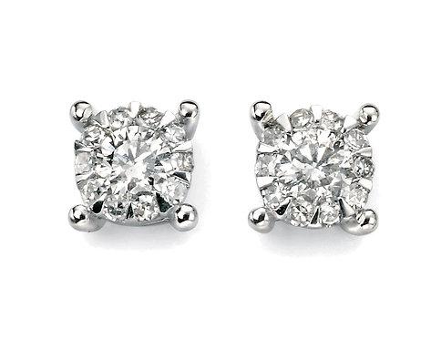 White Gold Diamond Cluster Stud Earrings
