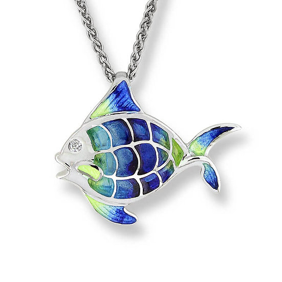 Sterling Silver Angel Fish Necklace, White Sapphires