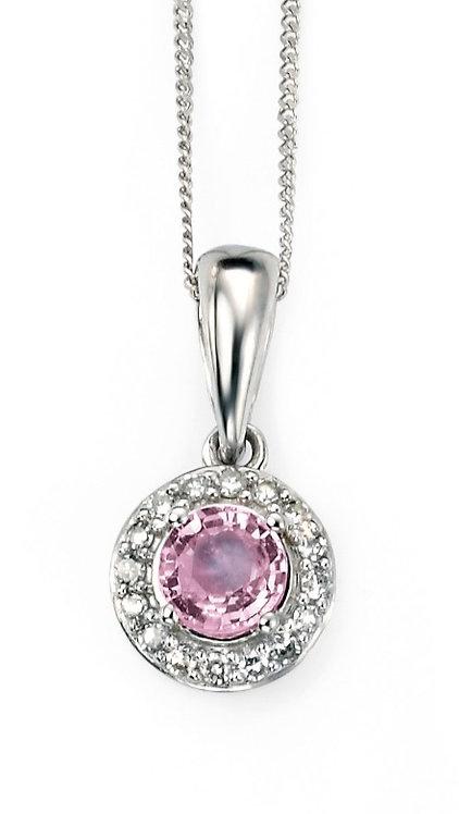 White Gold Pink Sapphire and Diamond Pendant