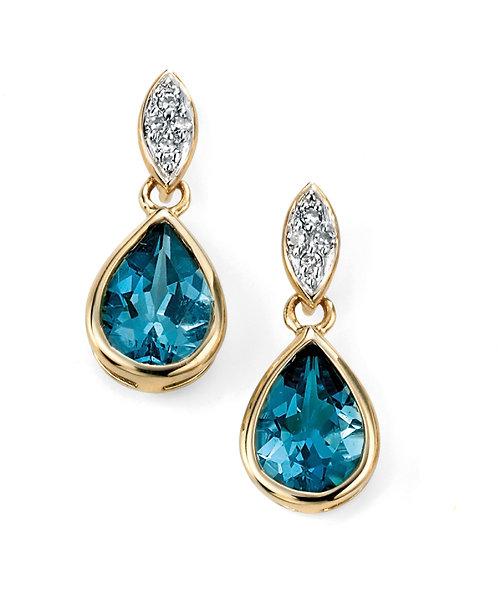 London Blue Topaz Diamond drop earrings