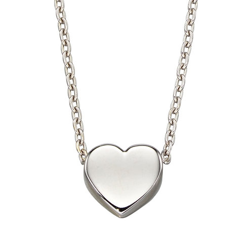 Plain Heart Necklace in White Gold or Yellow Gold