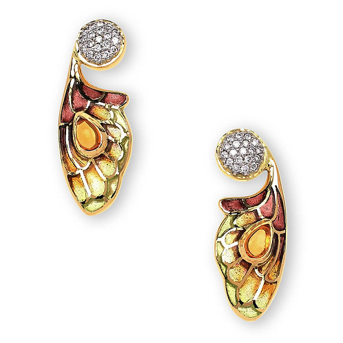 18 Carat Gold Yellow Bee Wing Earrings with Diamonds