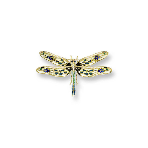 18 Carat Gold Dragonfly Brooch with Diamond & Blue Sapphire, in Yellow or Green