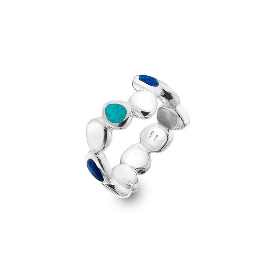 Pebbles Ring with Turquoise and Lapis