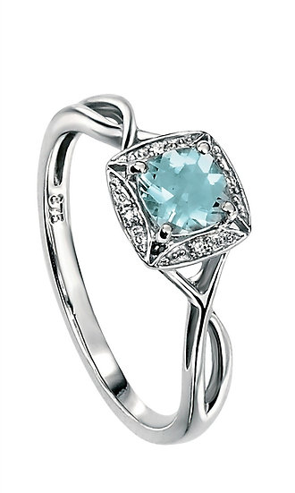 9ct White Gold Twist Ring,  Aquamarine and Pave Diamond