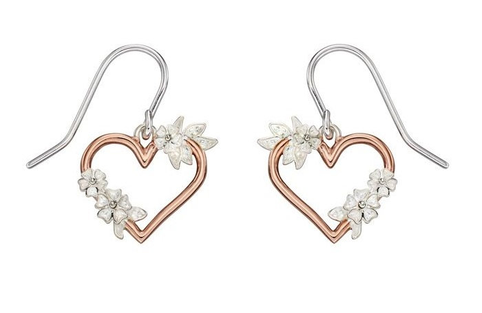 Rose Gold Plated And Silver Floral Cutout Heart Earrings