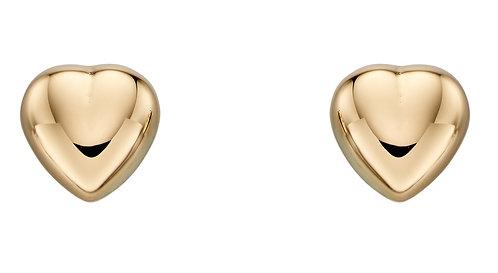 Yellow Gold Heart Stud Earrings