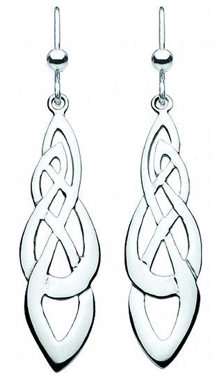 Celtic Open Knotwork Shona Long Drop Earrings