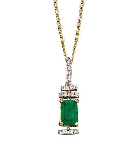 Diamond Deco Pendant with Emerald