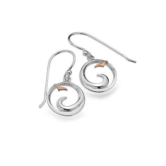 Wave and Seagull Earrings, Drops or Studs