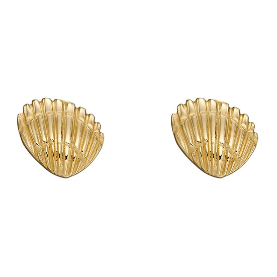 Tiny Shell Earrings, 9ct Gold