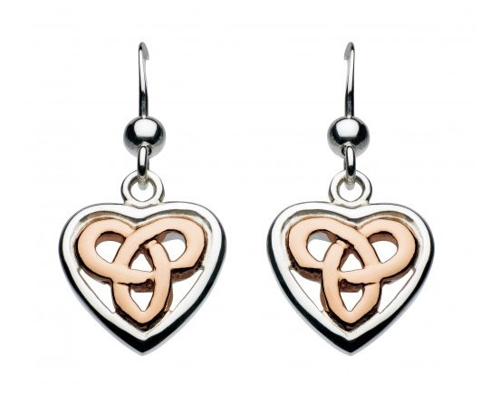 Celtic Silver Aamor Heart Earrings, Silver or Rose Gold plated