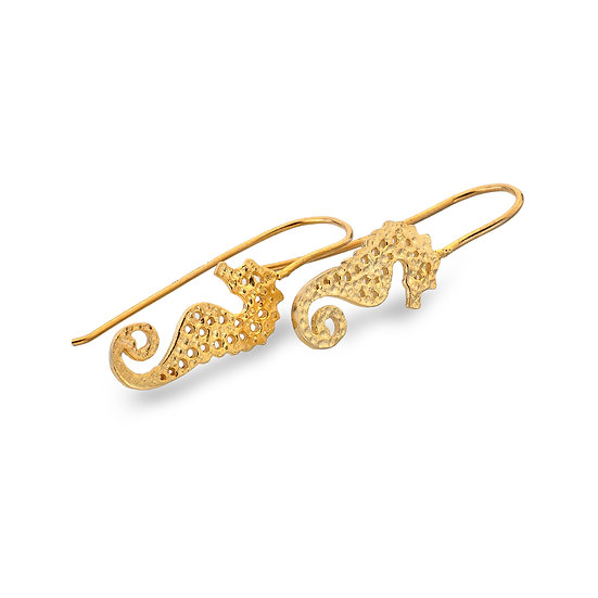 Textured Silver Seahorse Earrings, Gold plated