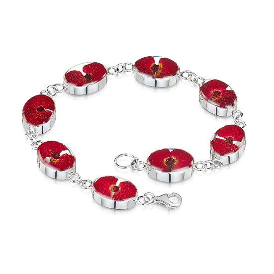 Poppy Flowers Silver Bracelet