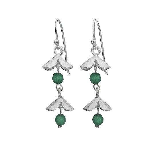 Silver Double Flower Earrings, Green Aventurine