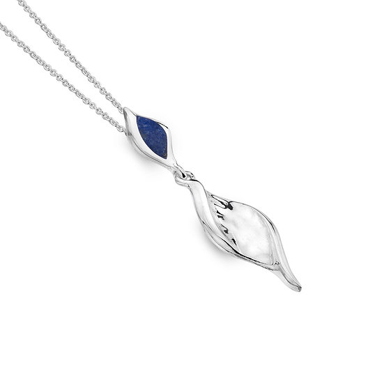 Textured Twist Pendant with Lapis Lazuli or Turquoise