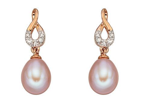 Pink Pearl Diamond Stud Earrings in Rose Gold