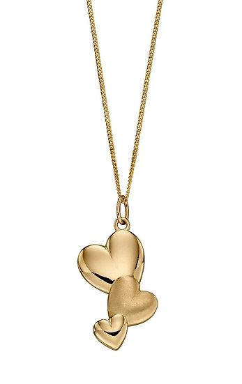 Mixed Texture Heart Pendant, 9ct Gold