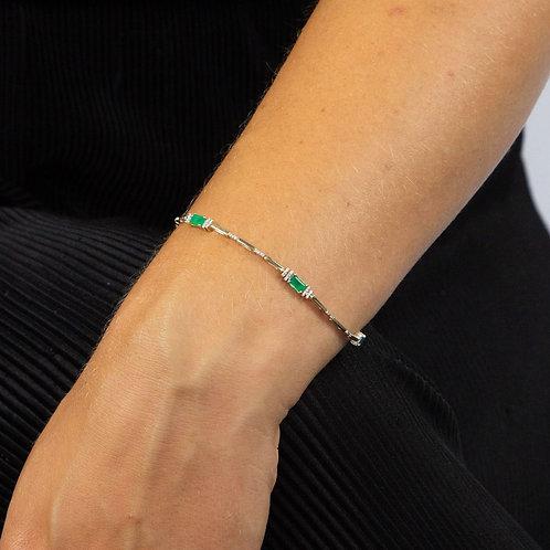 Emerald and Diamond Baguette Tennis Bracelet