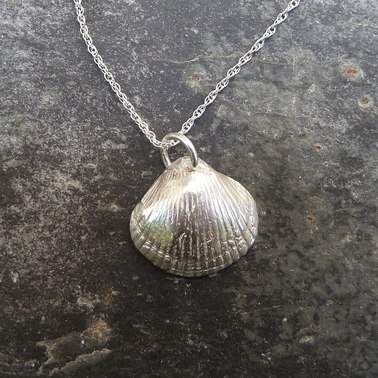 Cockle Shell Pendant, Natural Silver